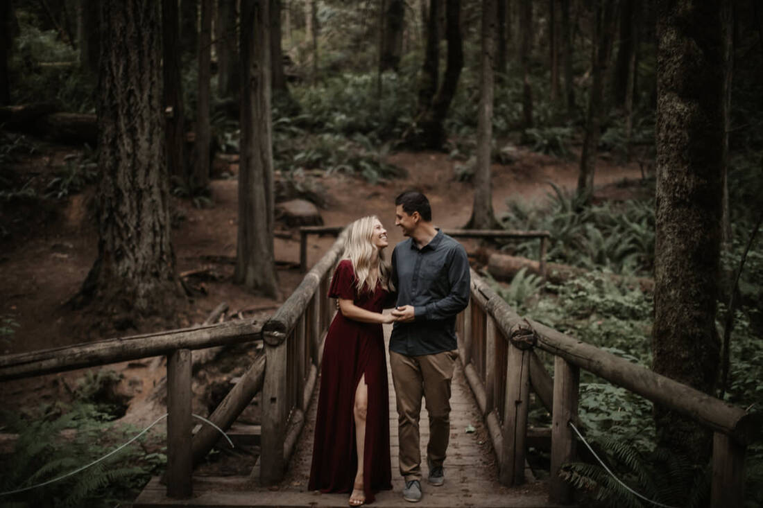couple photos in a forest